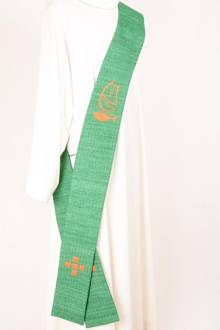 Stola Diaconale SMD201 M2 Verde - Seta a quadri - Ricamo a mano