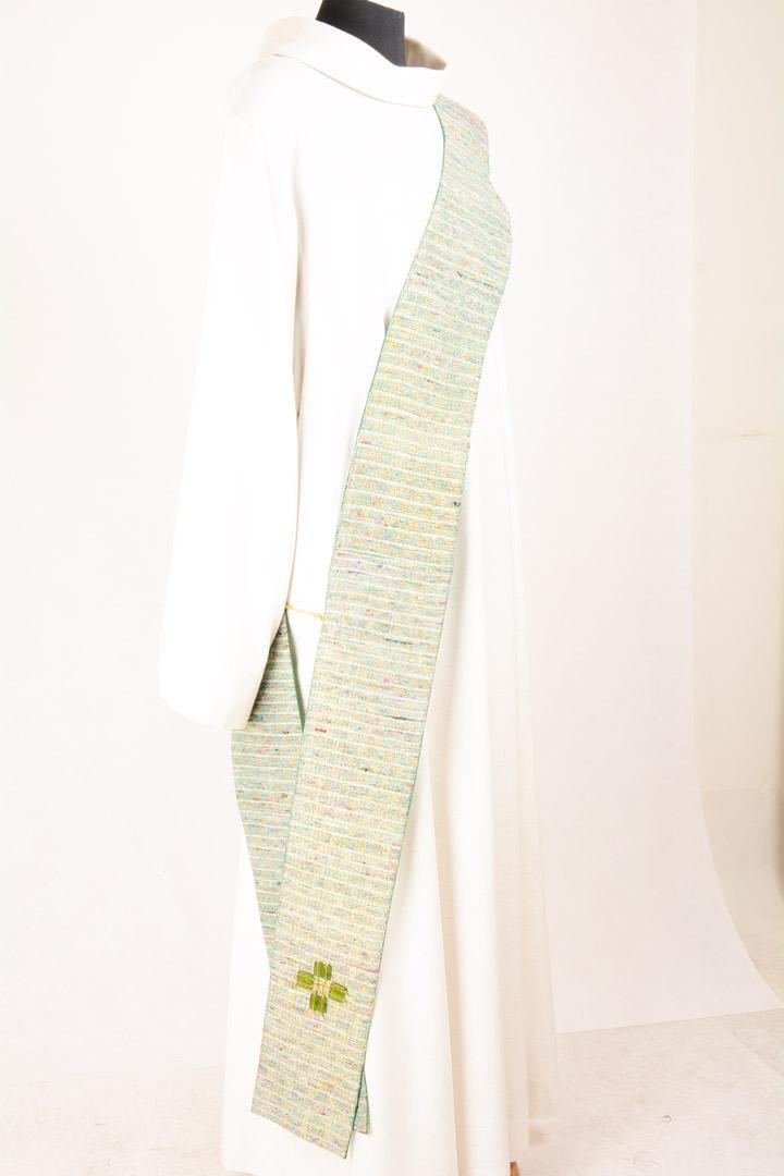 Stola Diaconale con Perle SPD302 M2 Verde - Seta Greggia Lurex