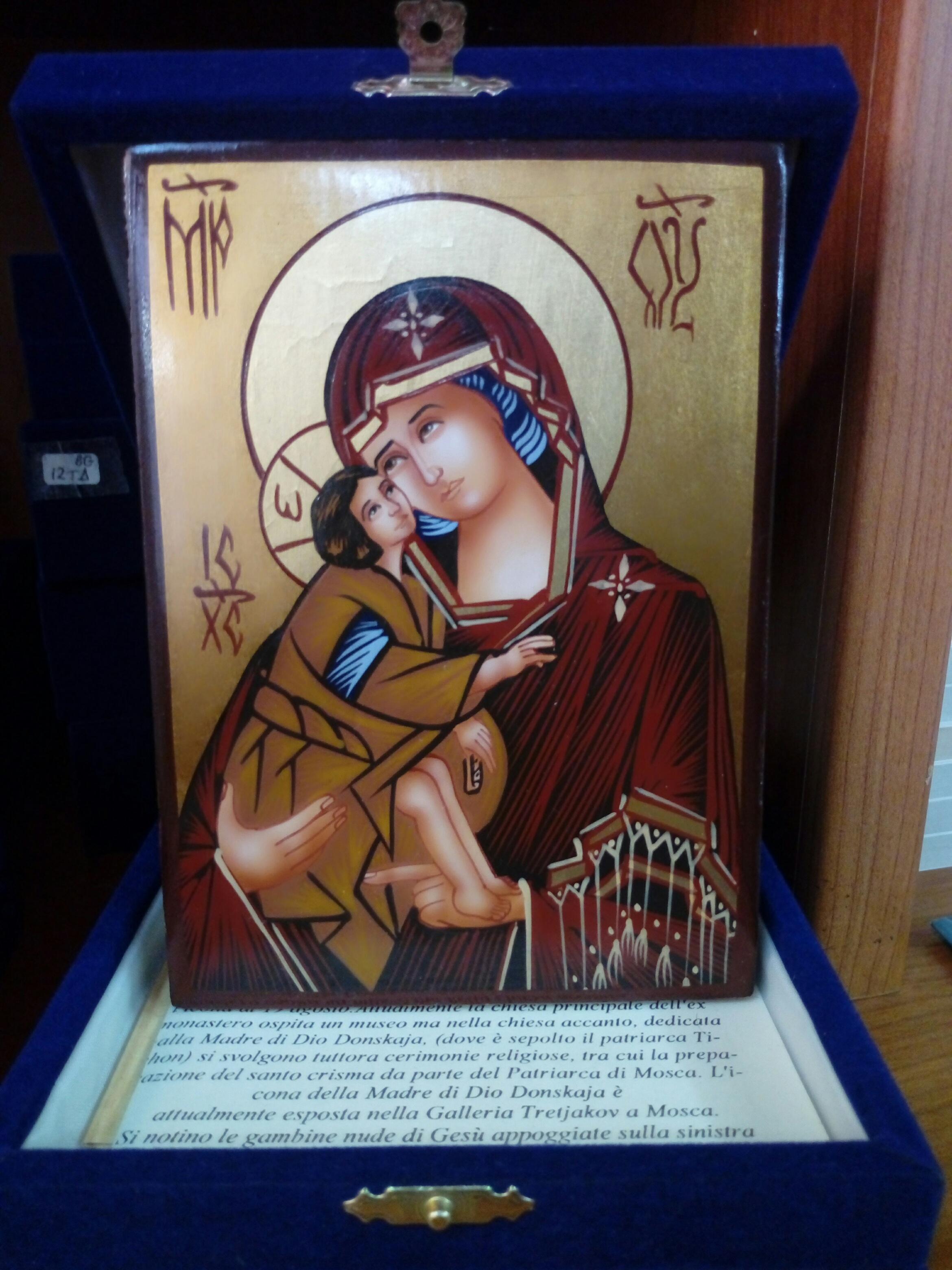 Icona Bizantina Madre di Dio Donskaja (del Don) cm. 10 x 14