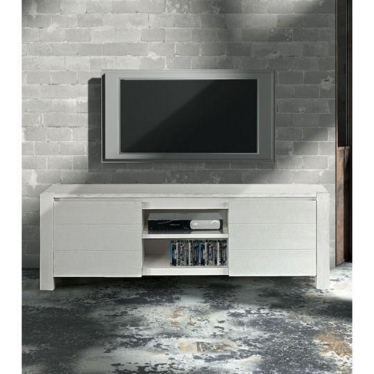 Porta Tv Bianco Spazzolato 2 Ante L166 cm