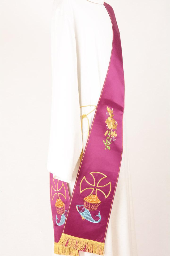 Stola Diaconale SD6 M0 Morello - Faille Misto Lana