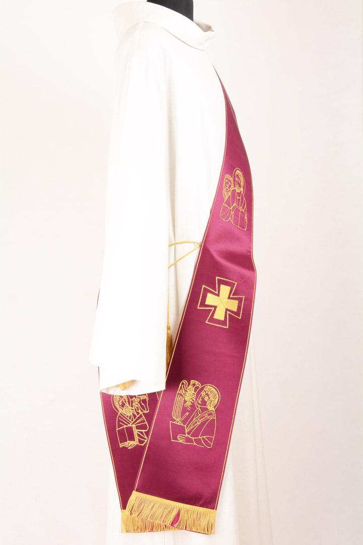 Stola Diaconale SD15 M0 Morello Ricamo Evangelisti Faille Misto Lana