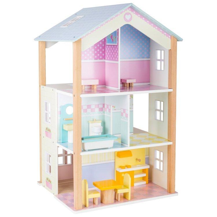 Casa delle bambole giocattolo in legno Palazzo tre piani, girevole