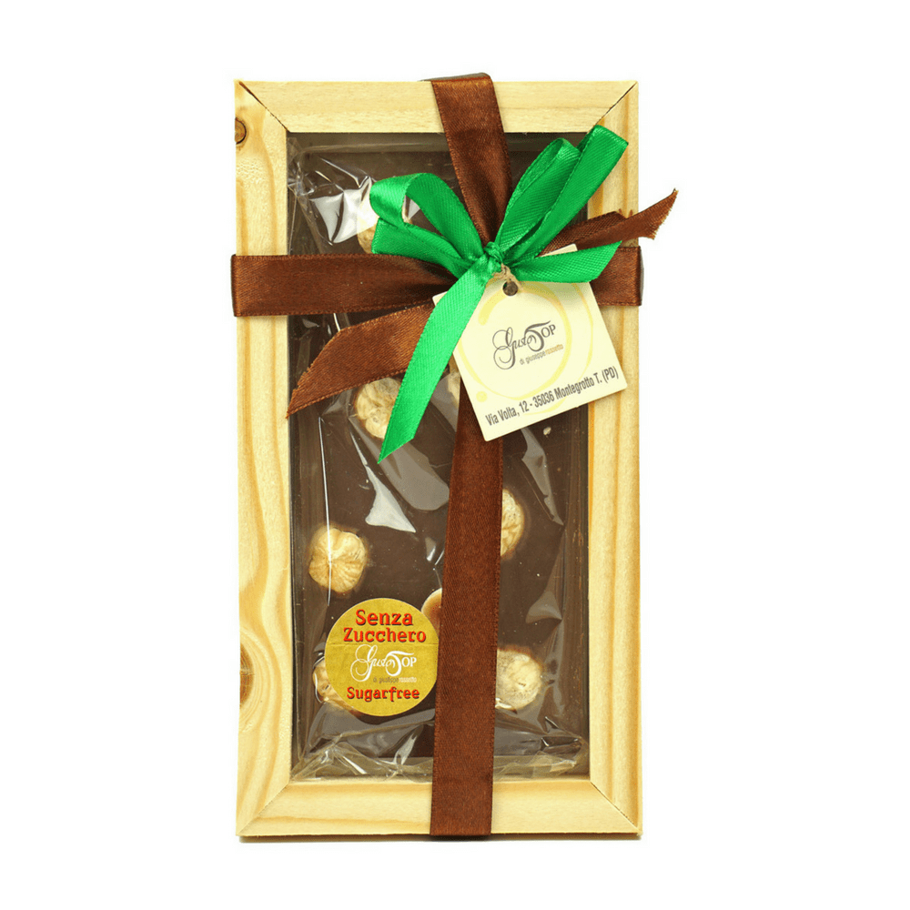 Tavoletta di Cioccolato fondente al 60% senza zucchero, con nocciole, gr 100 con cornice in legno