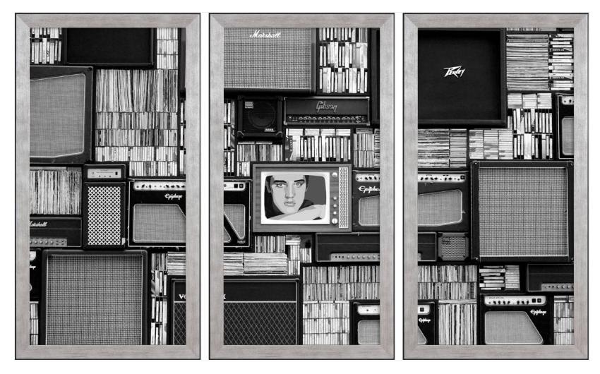 Set di stampe incorniciate Music in vintage
