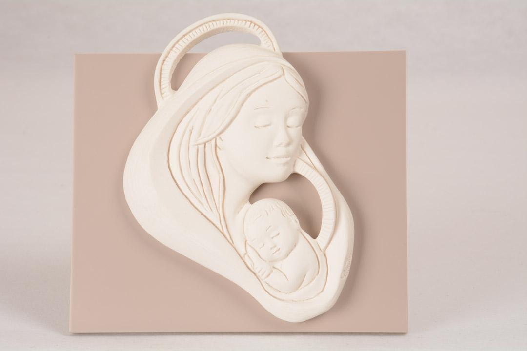 Quadretto Madonna con Bambino Bianco Luna 5951B 12,5x13 cm