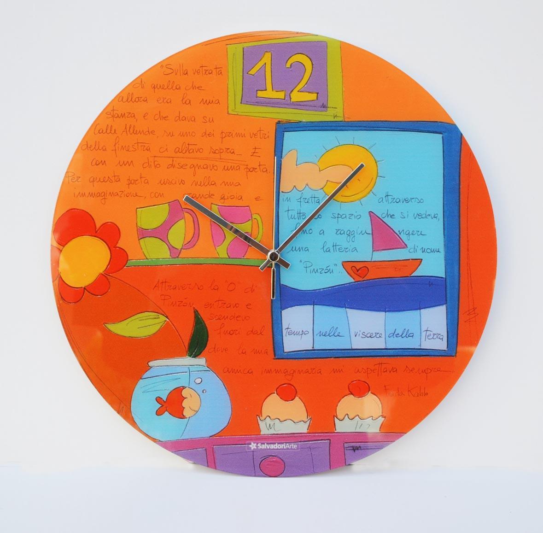 Orologio da parete su vetro, Formato Diametro cm 40, by Salvadori Arte