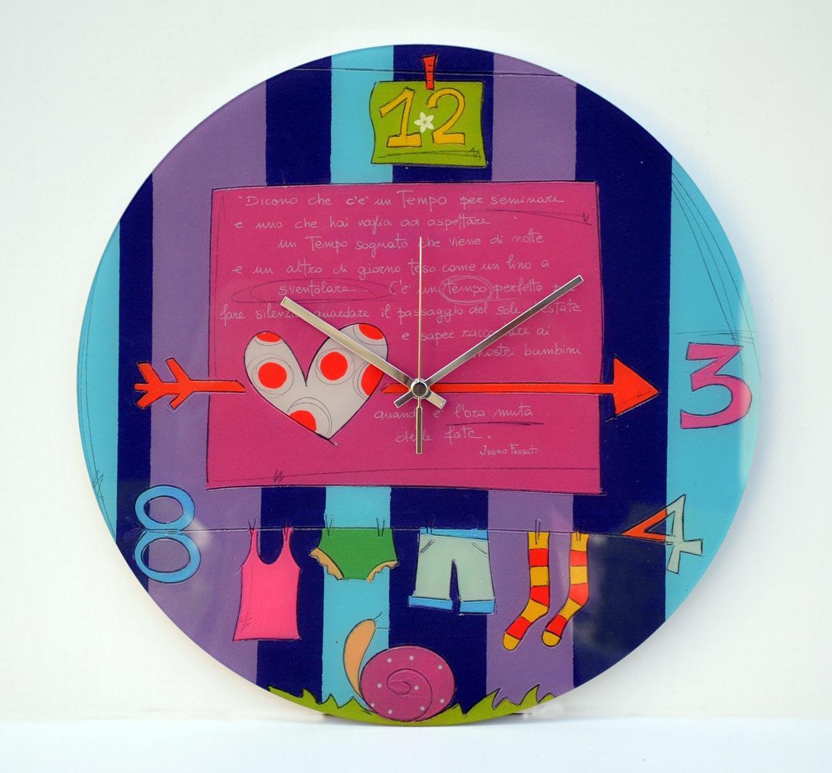 Orologio da parete in vetro, Formato diametro cm 40, by Salvadori Arte