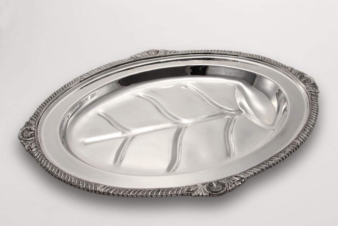 Vassoio ovale stile Regina Anna argentato argento sheffield