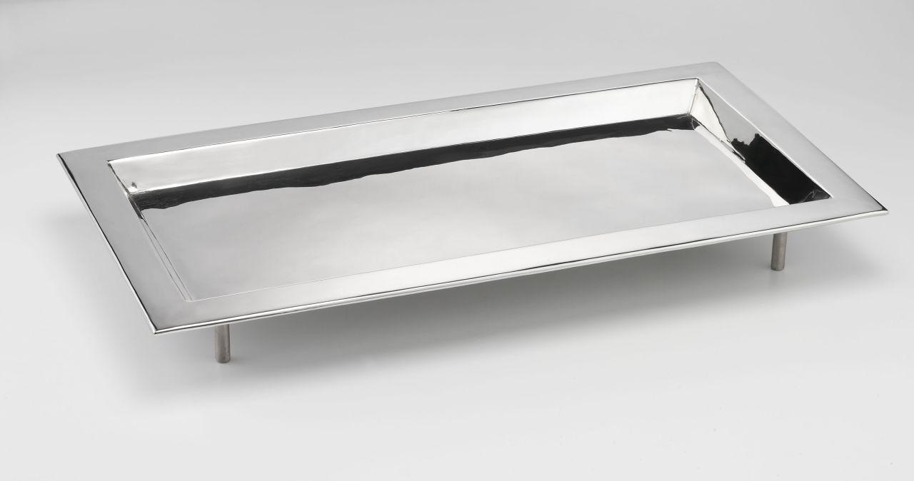 Vassoio rettangolare argentato argento sheffield da buffet con piedi stile Cardinale cm.71x40x9h
