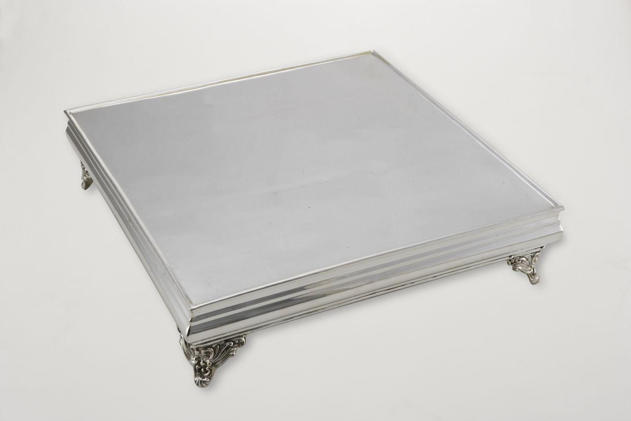 Vassoio torta portadolce argentato argento sheffield quadrato stile Cardinale cm.80x80x11,5h