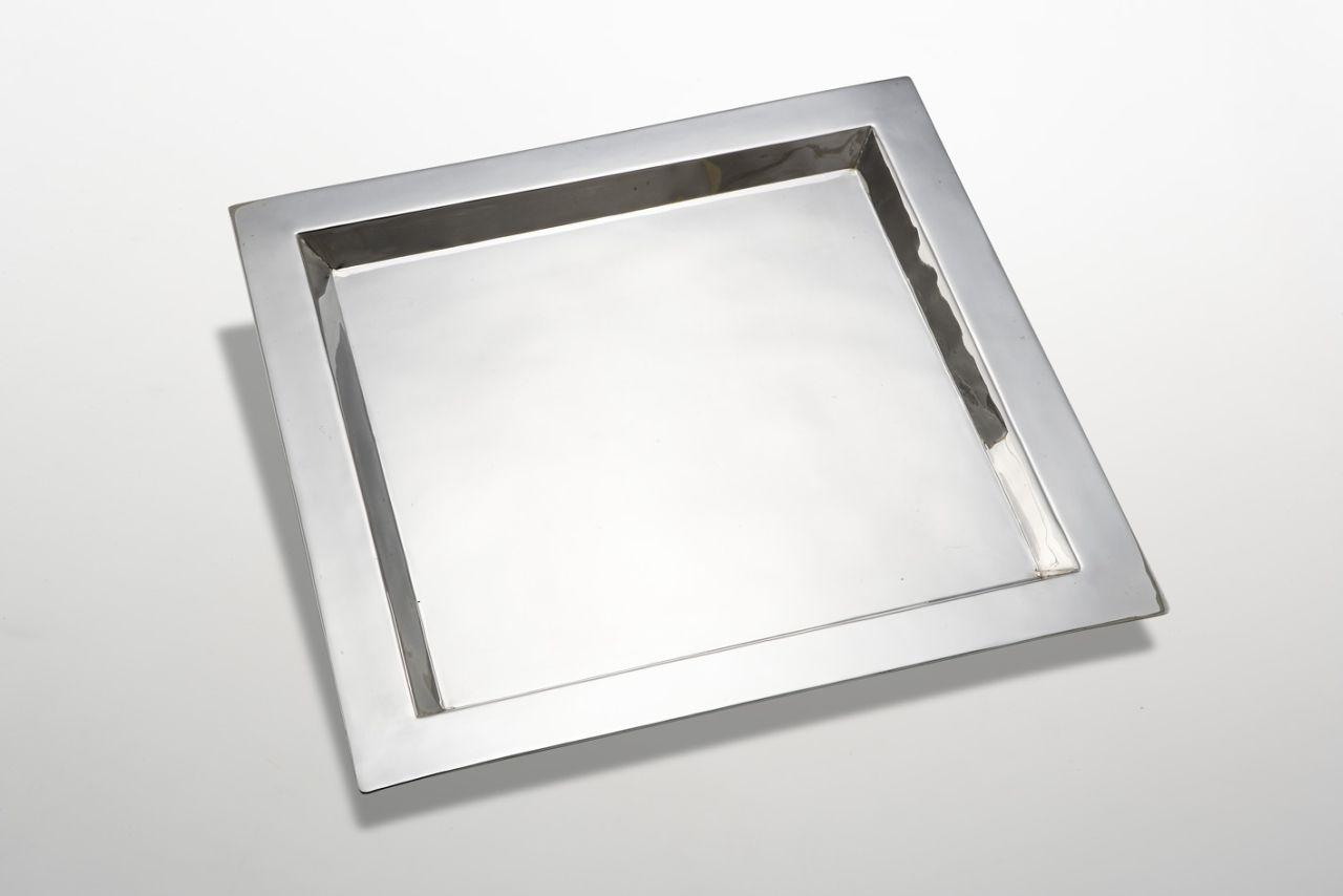Vassoio quadro stile Cardinale argentato argento sheffield cm.26x26