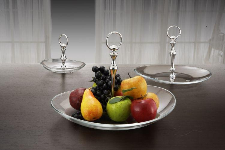 Alzatina in vetro 1 piano papaya con manico argentato argento sheffield