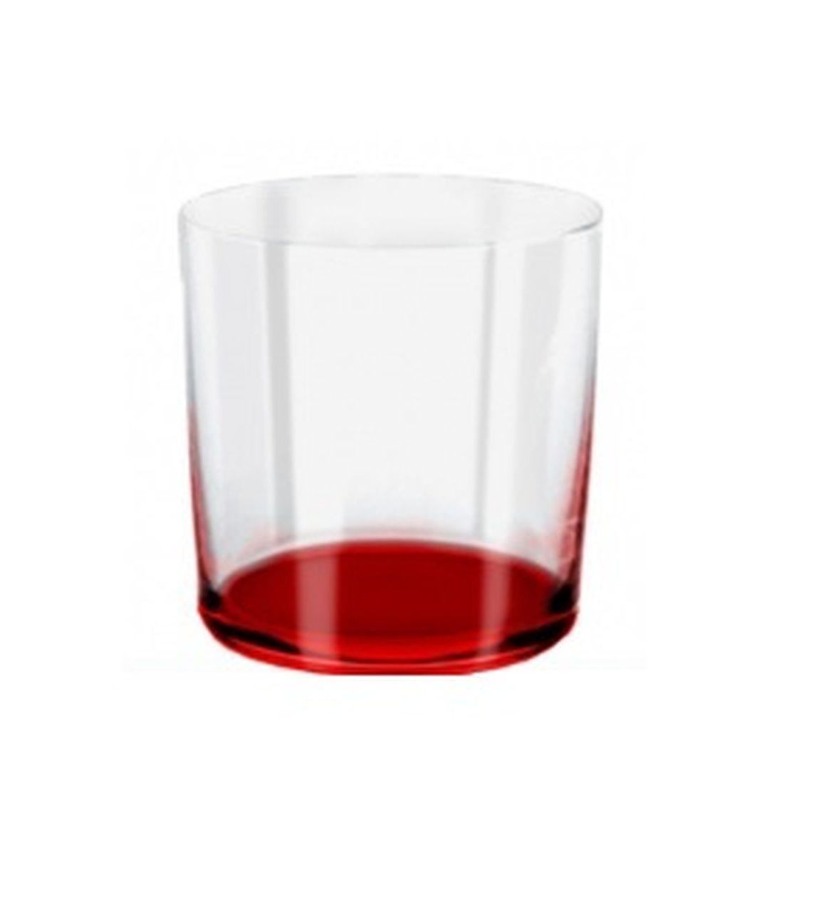 Bicchiere acqua burano rosso ml 390 stile burano cm.9,1h diam.8,6