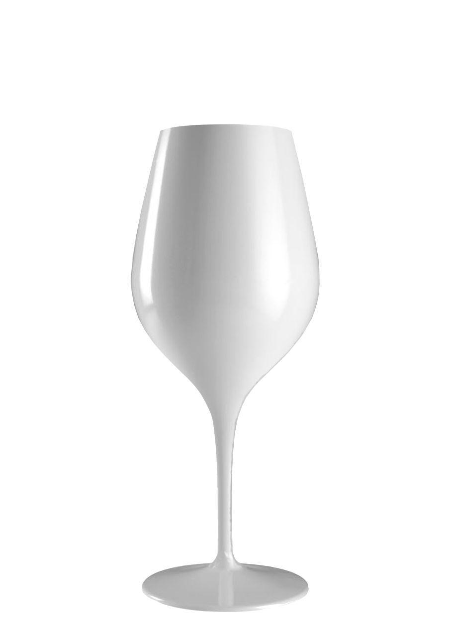 Calice vetro vino rosso colore bianco ml 480 stile white moon cm.21,5h diam.8,9