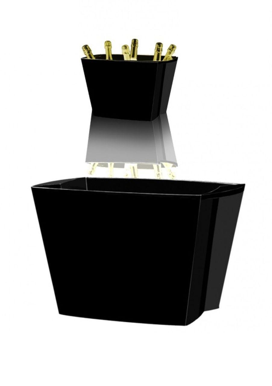 Spumantiera nera per 6 o 7 bottiglie cm.43x29,5x26h