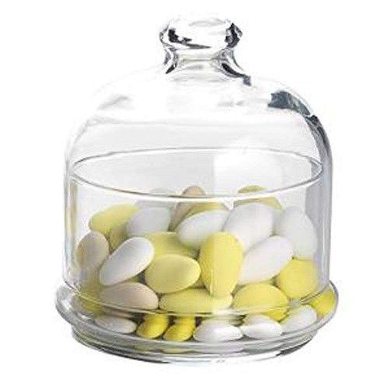 Scatola porta confetti con campana e piattino in vetro cl 55 cm.13,5h diam.11,2