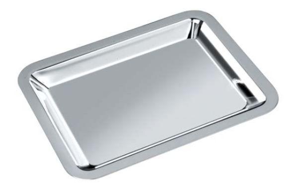 Vassoio rettangolare in silver plated con trattamento antiossidante stile Cardinale cm.15,8x13x2,1h