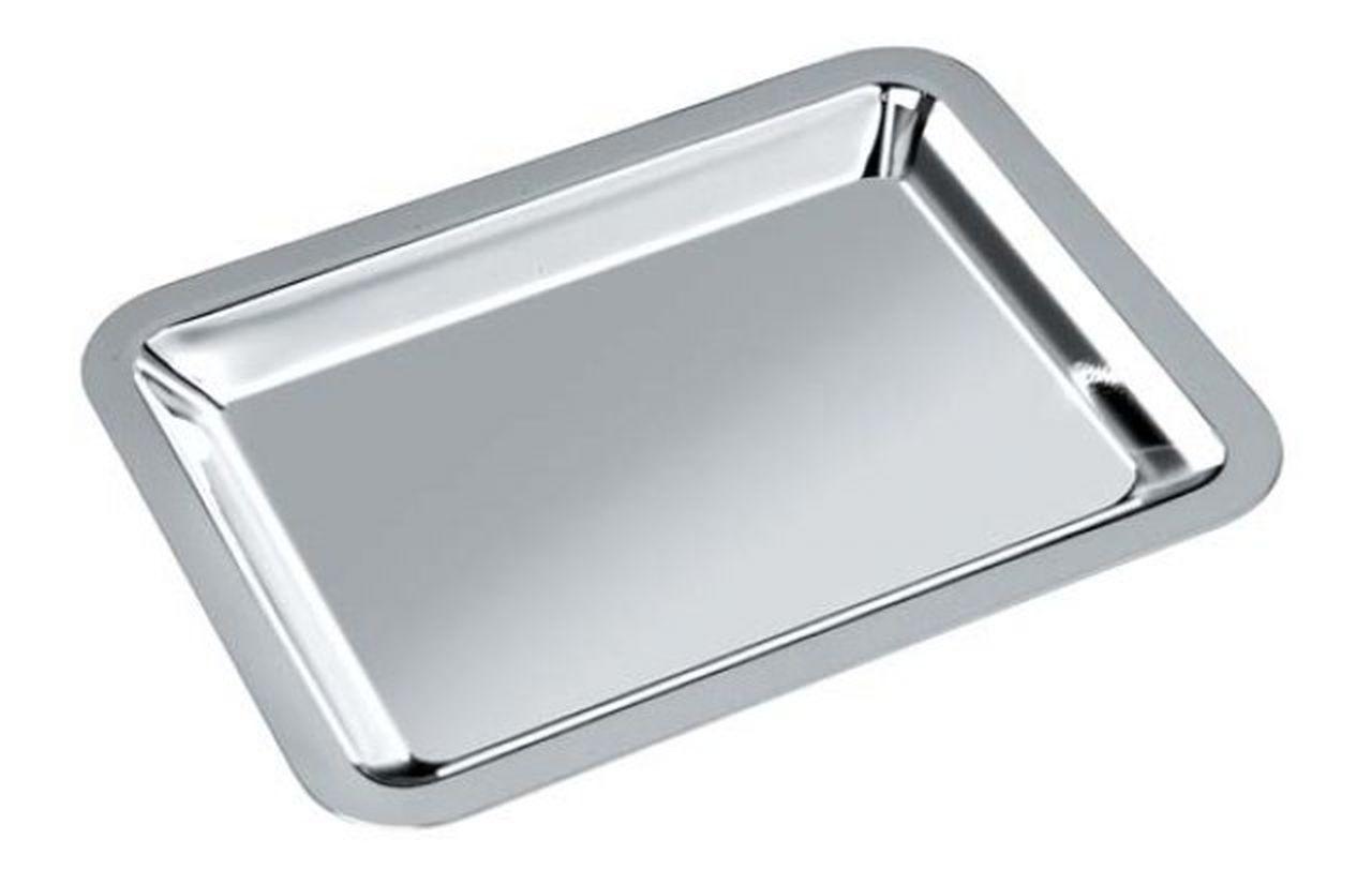 Vassoio rettangolare in silver plated con trattamento antiossidante stile Cardinale cm.23,5x17x4,5h
