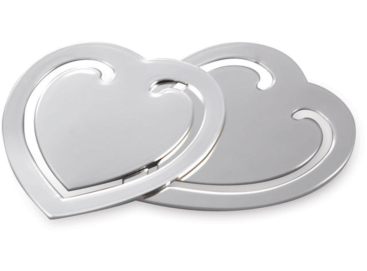 Segnalibro Cuore argento silver plated set 2 pezzi cm.5x5,5x0,2h