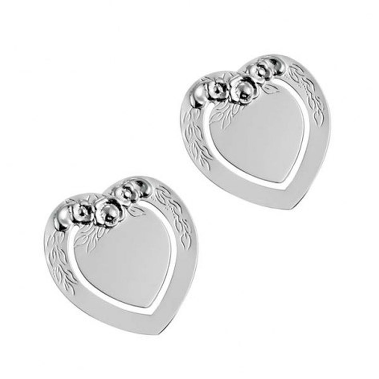 Segnalibro cuore argento silver plated con decoro set 2 pz cm.4x3,5x0,2h
