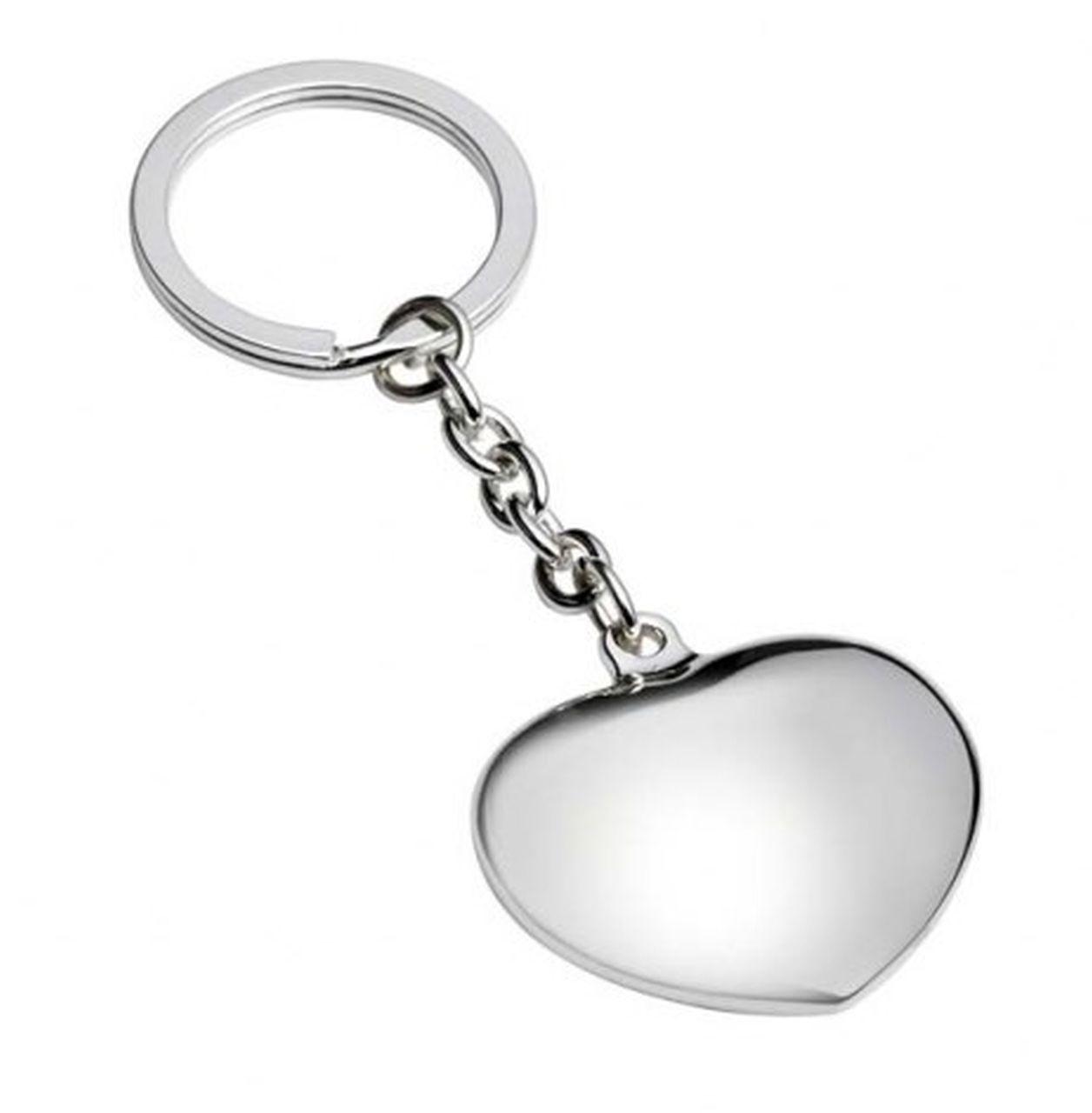 Portachiavi cuore pendente silver plated cm.11,5x4x2,5h