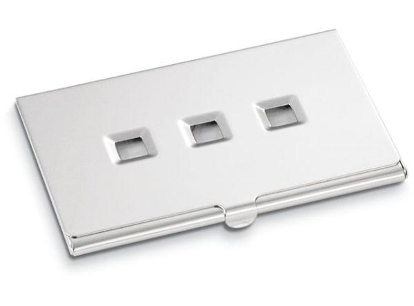 Portabiglietti da visita forato in silver plated cm.9,7x6x2h