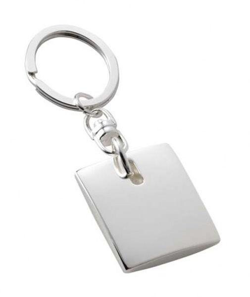 Portachiavi quadrato anello ovale silver plated cm.9,4x3x1h