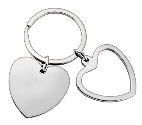 Portachiavi cuore doppio no box cm.6,5x3,5x0,5h