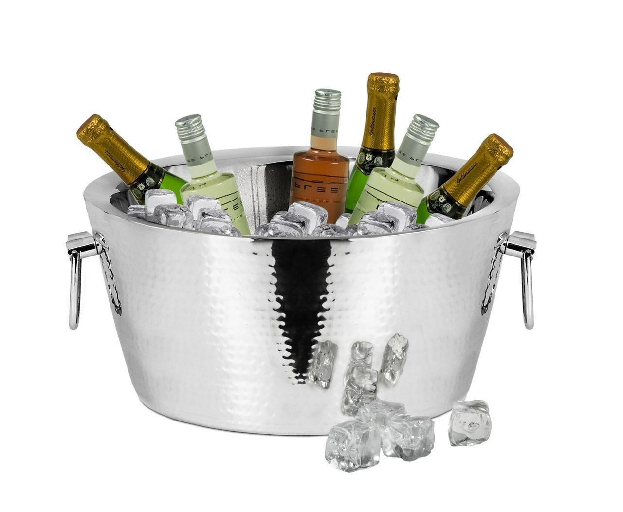 Spumantiera Champagne Doppia parete per 6 bottiglie con manici stile martellata cm.18h diam.37,5