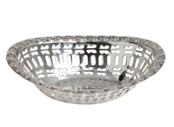 Cestino ovale argentato argento sheffield stile traforato senza scatola cm.13x7,5x2,8h