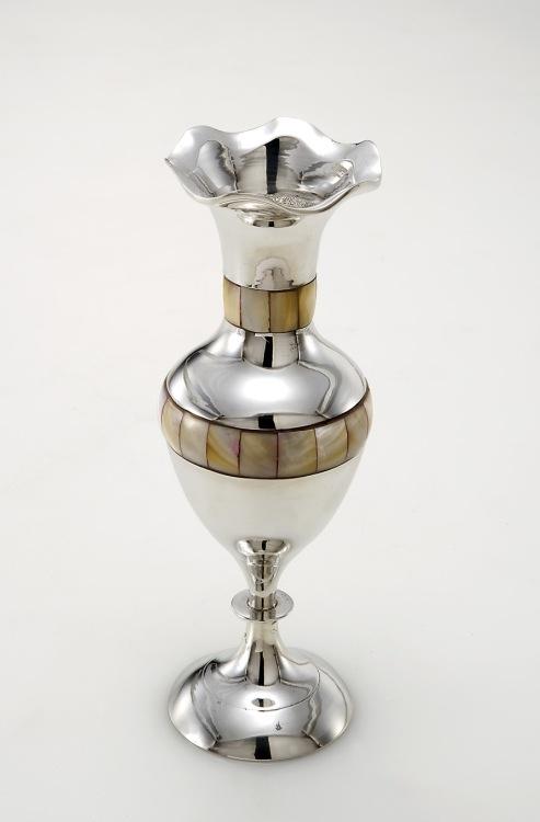 Vaso madreperla argentato argento sheffield cm.20h diam.9