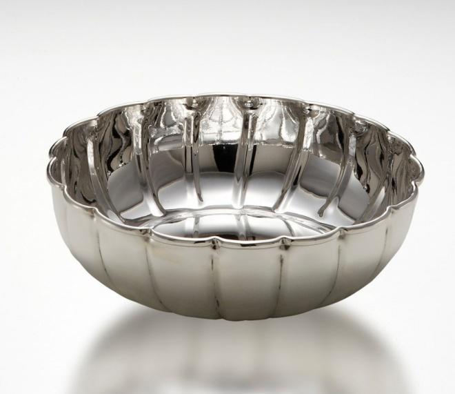 Ciotola tonda benedetta argentato argento sheffield cm.7h diam.26