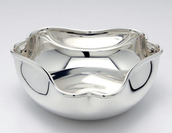 Ciotola 3 angoli liscia argentato argento sheffield cm.4,5h diam.14