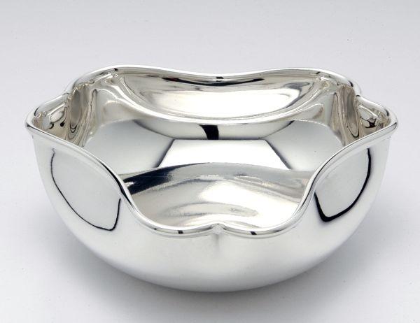 Ciotola 3 angoli liscia argentato argento sheffield cm.5h diam.19