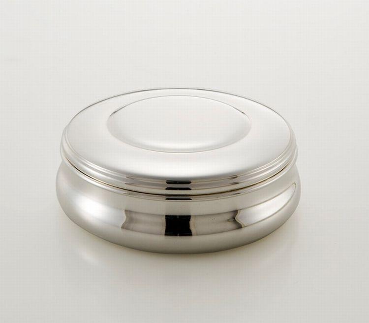Scatola tonda stile Cardinale argentato argento sheffield cm.5,5h diam.14