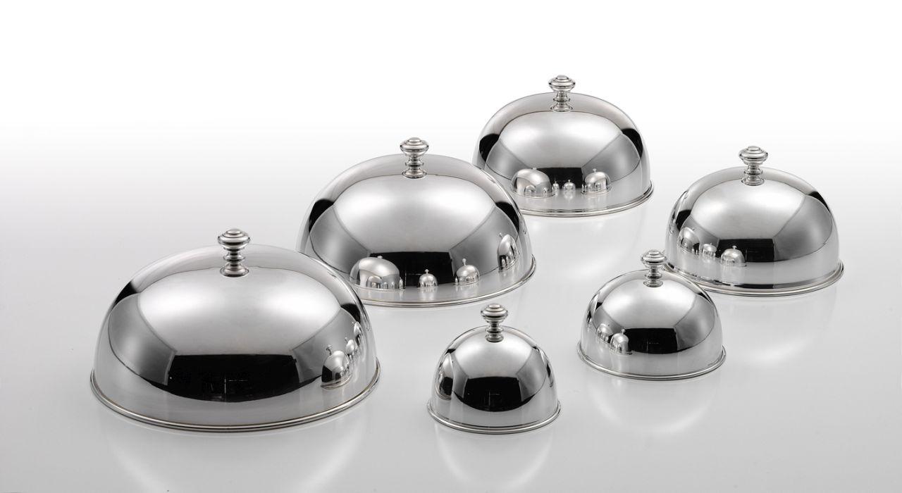 Cloche coprivivande campana argentata argento tonda stile Cardinale cm.15,5h diam.26,5