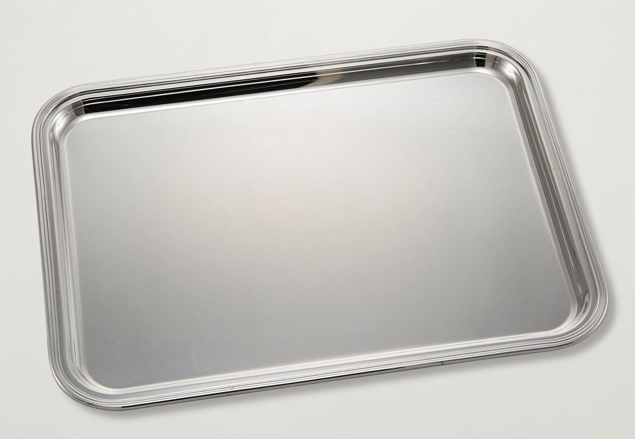 Vassoio rettangolare argentato argento silver plated con bordo saldato a mano stile Inglese cm.49x37