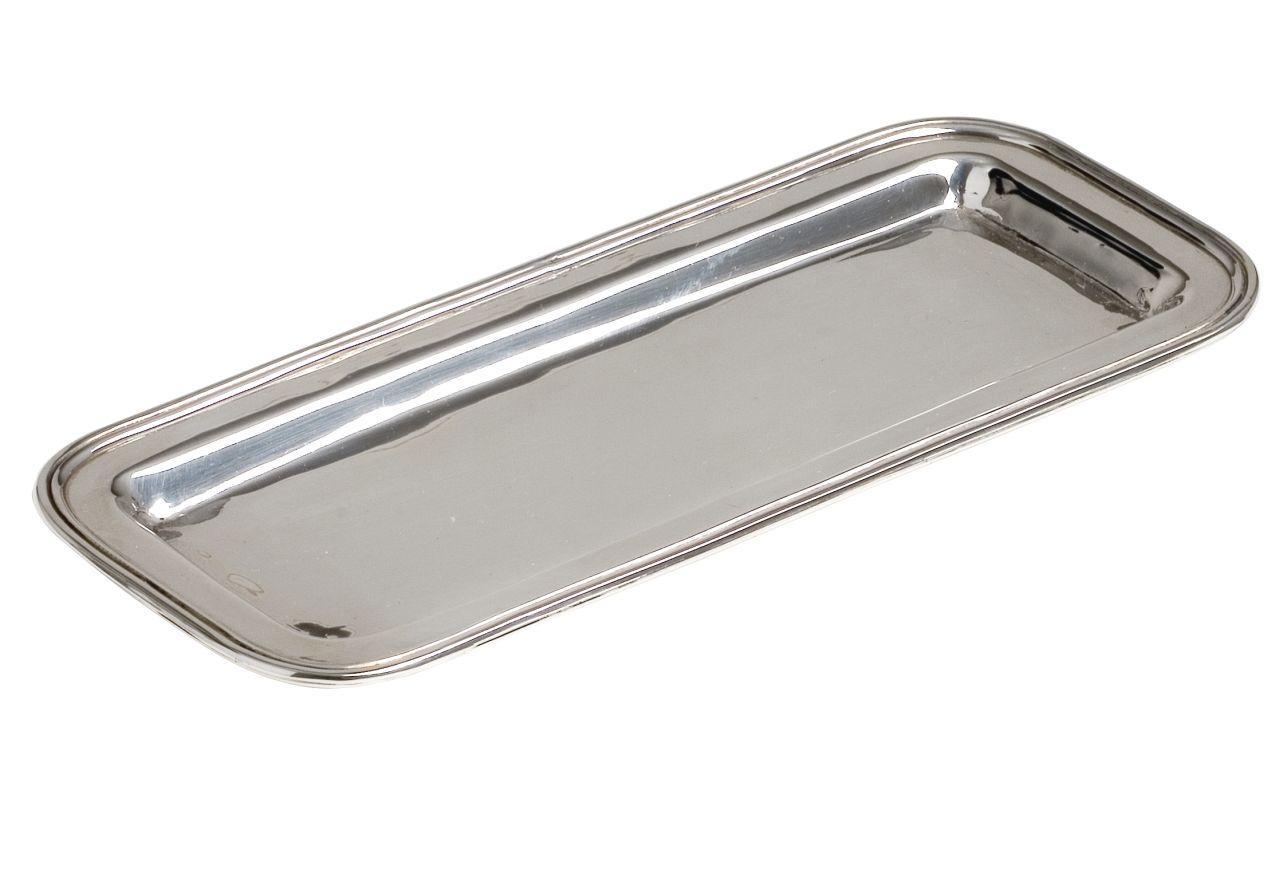 Vassoio portapenne argentato argento sheffield stile inglese cm.19x8
