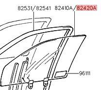 Vetro scendente anteriore destro Hyundai Accent 1994-1999