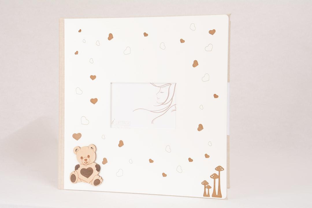 Album Fotografico Legno Bianco Orso Cuori 30x30 cm