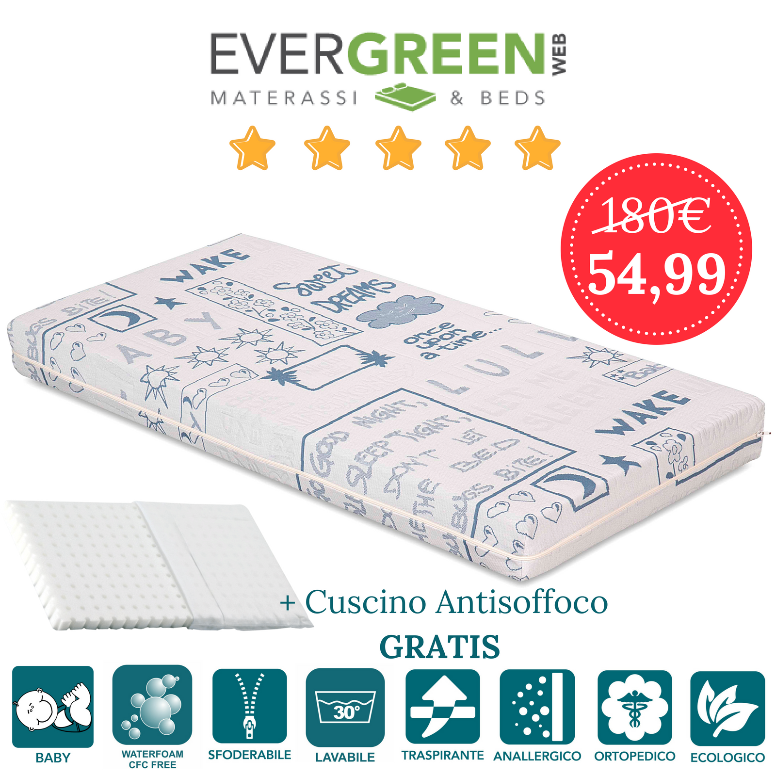 Evergreen Materassi.Materasso Lettino O Culla Per Bambini Alto 12 Cm Cuscino Antisoffoco