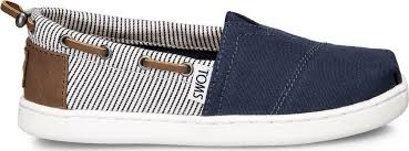 TOMS JUNIOR NAVY CANVAS STRIPES