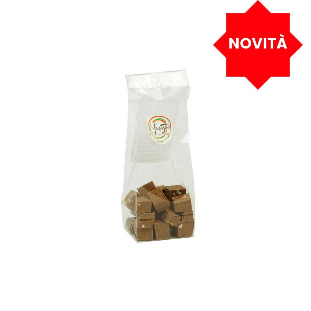 Cubi di cioccolato al latte con olio di oliva extra vergine, confezione da grammi 90;