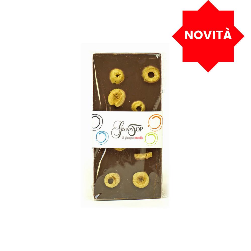 Tavoletta di Cioccolato fondente al 72% con olive verdi, gr 80