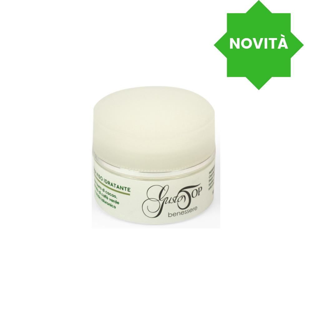 Crema viso idratante, con burro di cacao, estratto di caffè verde e acido ialuronico, confezione 50 ml