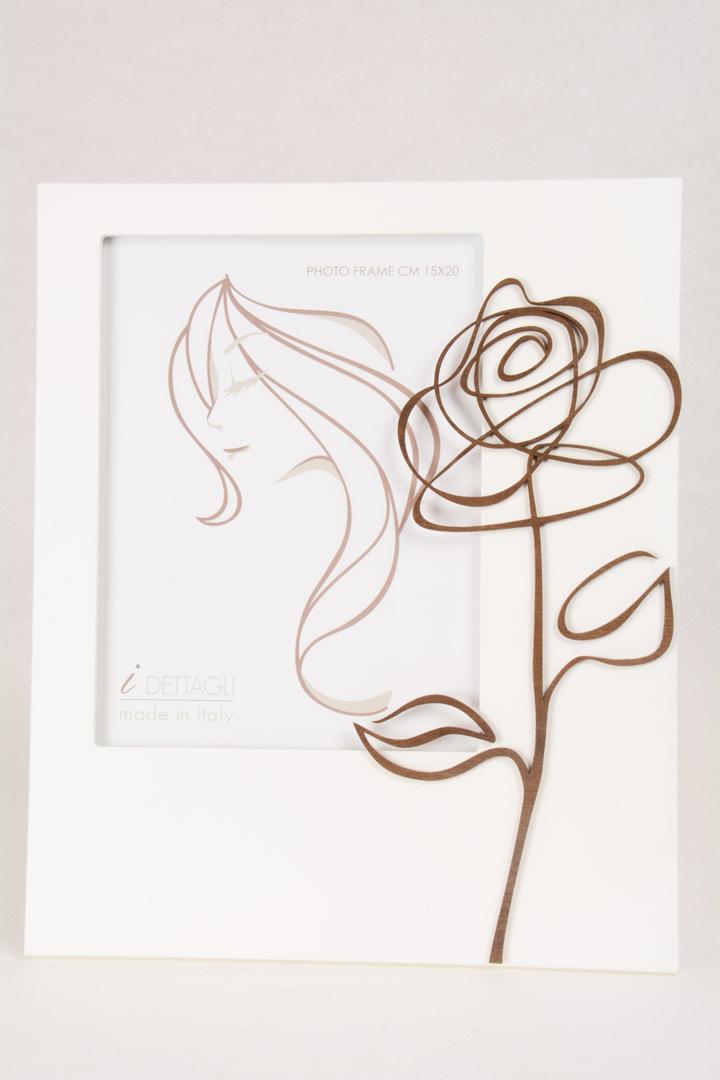 Portafoto Legno Bianco Rosa 15x20 cm