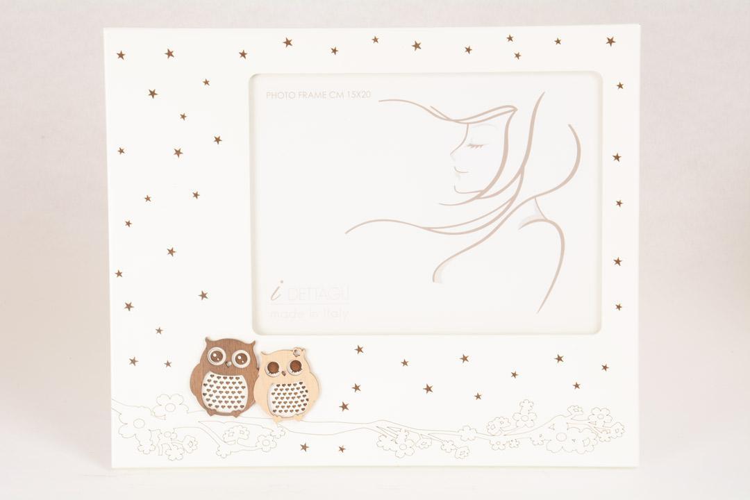 Portafoto Legno Bianco Amori Notturni Gufi 15x20 cm