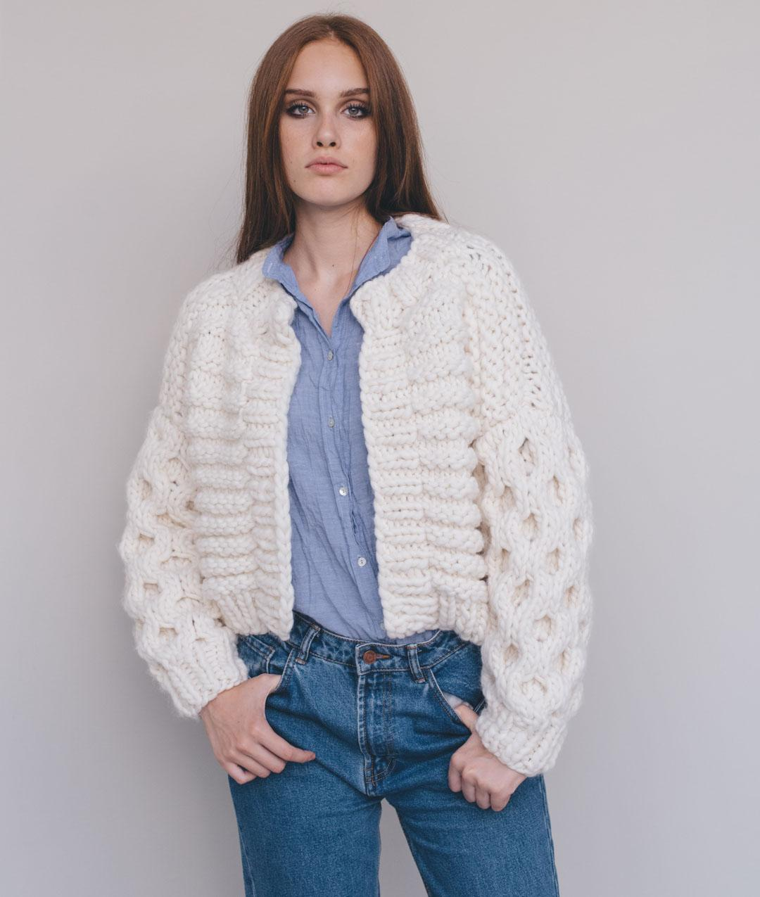 Chunky Knits Collection  - Cardigans and Vests  - Arwen Bomber - 1