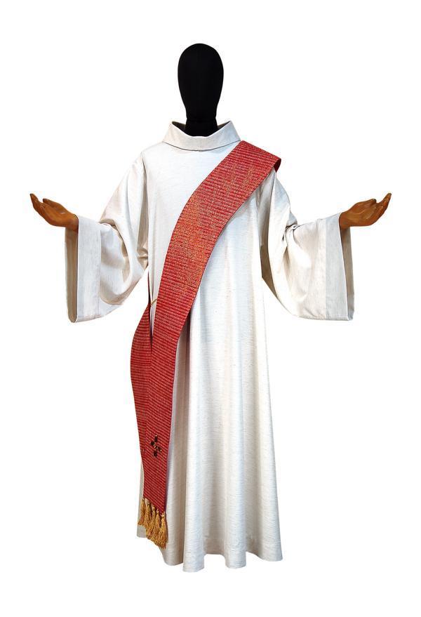 Stola Diaconale SDP311 M2  Rossa - Seta Greggia